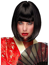 cheap -Synthetic Wig Straight Straight Bob Wig Short Natural Black Synthetic Hair Women's Middle Part Bob Black