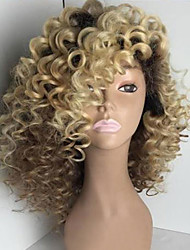 cheap -Human Hair Glueless Full Lace Full Lace Wig Rihanna style Brazilian Hair Kinky Curly Ombre Wig 150% Density with Baby Hair Ombre Hair Natural Hairline African American Wig 100% Hand Tied Women's