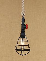 abordables -La lumière pendante de corde de chanvre a peint la lumière ambiante finit le style en verre en métal mini, a mené, les concepteurs 110-120v / ampoule de 220-240v inclus / e26 / e27