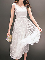 cheap -Women's Going out Casual Lace Dress - Solid Colored Lace Summer Cotton White M L XL