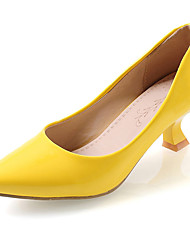 cheap -Women's Heels Chunky Heel Pointed Toe Leatherette Comfort Spring / Summer Red / Green / Pink / Dress