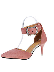 cheap -Women's Sandals Stiletto Heel Pointed Toe Rhinestone / Buckle PU Club Shoes Spring / Summer Black / Light Brown / Pink / Party & Evening / Dress / 2-3 / Party & Evening