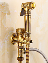 cheap -Bathroom Sink Faucet - Handshower Included Antique Brass Shower Only Single Handle One HoleBath Taps