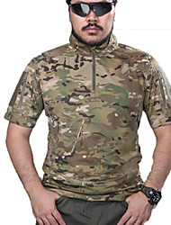 cheap -Men's Camouflage Hunting T-shirt Outdoor Tactical Spring Summer Fall Top Short Sleeve Hunting Leisure Sports Military / Tactical Leopard Khaki