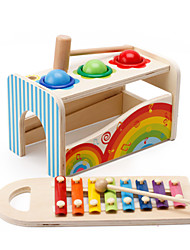cheap -Hammering / Pounding Toy Building Blocks Baby & Toddler Toy Toys Square Toys Education Wooden Kid's Pieces