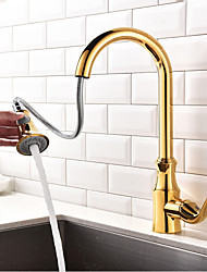 cheap -Kitchen faucet - Single Handle One Hole Ti-PVD Pull-out / ­Pull-down / Standard Spout / Tall / ­High Arc Centerset Contemporary / Art Deco / Retro / Modern Kitchen Taps