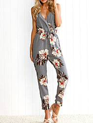 cheap -Women's Daily / Holiday / Going out Street chic Strap Gray Jumpsuit Onesie, Floral Backless / Criss Cross S M L High Rise Sleeveless Spring Summer