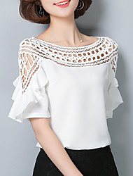 cheap -Women's Daily Going out Weekend Sophisticated Blouse - Solid Colored Boat Neck White / Cut Out