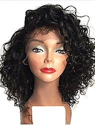 cheap -100% Virgin Human Hair Full Lace Wig Brazilian Hair Curly Wig Bob 120% 130% Density with Baby Hair Natural Hairline African American Wig Women's Short Human Hair Lace Wig Premierwigs