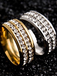 cheap -Women's Couple Rings spinning ring Crystal Gold Black Silver Stainless Steel Zircon Round Ladies Unique Design Wedding Party Jewelry