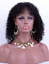 Недорогие -Натуральные волосы Бесклеевая кружевная лента Лента спереди Парик стиль Перуанские волосы Kinky Curly Парик 130% Плотность волос / Природные волосы / 100% ручная работа / с детскими волосами