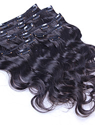cheap -Clip In Human Hair Extensions Body Wave Human Hair Human Hair Extensions Brazilian Hair Women's Black#1B
