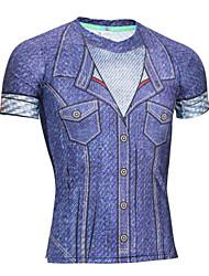 cheap -Men's Spandex Running Shirt 1 pc Running Exercise & Fitness Racing Breathable Quick Dry Anatomic Design Sportswear Retro Tee / T-shirt Sweatshirt Tracksuit Short Sleeve Activewear High Elasticity