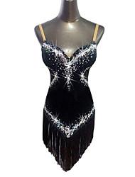 cheap -Latin Dance Dresses Women's Performance Velvet Tassel / Crystals / Rhinestones Sleeveless Natural Dress