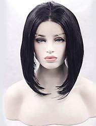 abordables -Perruque Synthétique Droit Droite Lace Frontale Perruque Court Noir Naturel Cheveux Synthétiques Femme Au Milieu Noir