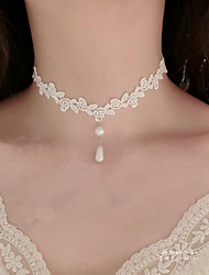 cheap -Women's Choker Necklace Pendant Flower Tattoo Style Dangling Imitation Pearl Lace White Necklace Jewelry For Wedding Party Special Occasion Birthday Engagement Daily / Casual