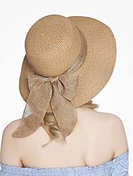 Недорогие -Жен. Соломенная шляпа Шляпа от солнца Очаровательный Солома Винтаж - Однотонный Лето Осень Белый Пурпурный Хаки