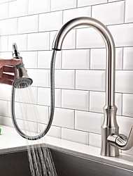cheap -Kitchen faucet - Single Handle One Hole Nickel Brushed Pull-out / Pull-down / Standard Spout / Tall / High Arc Centerset Contemporary / Art Deco / Retro / Modern Kitchen Taps