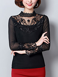cheap -Women's Daily Weekend Blouse - Solid Colored Stand Black