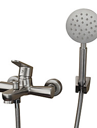 cheap -Contemporary Antique Art Deco/Retro Tub And Shower Widespread Ceramic Valve Two Holes Single Handle Two Holes Stainless Steel, Bathtub