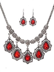 cheap -Women's Jewelry Set Pendant Ladies Fashion Rhinestone Earrings Jewelry Red / Green / Blue For Party Daily Casual