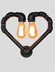 cheap -Vintage Water Pipe Loving Heart Creative Wall Lights Industrial Living Room Restaurant Bars Cafe Decoration Wall Sconces