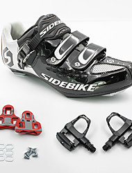 cheap -SIDEBIKE Cycling Shoes With Pedals & Cleats Road Bike Shoes Nylon and Carbon Fiber Cycling / Bike Breathable Anti-Shake / Damping Cushioning Black and White / Ultra Light (UL) / Ultra Light (UL)