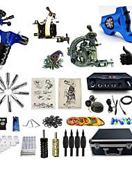 abordables -BaseKey Kit de tatouage professionnel Machine à tatouer - 4 pcs Machines de tatouage, Professionnel Alliage 20 W Source d'alimentation LED 1 x Machine à tatouer en acier pour le traçage et l'ombrage
