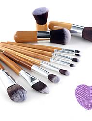 abordables -Professionnel Pinceaux à maquillage ensembles de brosses 11pcs Portable Voyage Professionnel Poil Synthétique / Pinceau en Fibres Synthétiques Bois Pinceaux de Maquillage pour