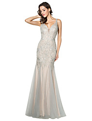 cheap -Mermaid / Trumpet Formal Evening Dress Plunging Neck Sleeveless Floor Length Tulle with Beading 2020