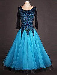 cheap -Ballroom Dance Dresses Women's Performance Spandex / Organza Draping / Lace / Splicing Long Sleeve High Dress