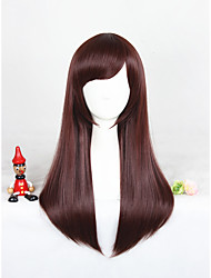 cheap -medium long straight overwatch d va brown cosplay wig synthetic 24inch anime wig cs 302a Halloween
