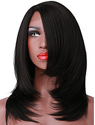 cheap -Synthetic Lace Front Wig Straight Yaki Straight Yaki Bob L Part Wig Short Black#1B Synthetic Hair Women's Middle Part Bob Black