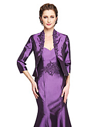 cheap -Coats / Jackets Stretch Satin Wedding / Party Evening Women's Wrap With Beading / Appliques