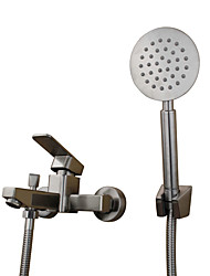 cheap -Contemporary Modern Country Tub And Shower Pullout Spray Widespread Ceramic Valve Two Holes Single Handle Two Holes Stainless Steel,