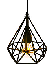 cheap -Vintage Black Diamond Shape Metal Loft Pendant Lights Living Room Dining Room Hallway Cafe Bars Clothing Store Decoration Light