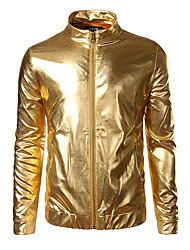 cheap -Men's Holiday / Going out / Club Street chic Summer / Fall / Winter Regular Jacket, Solid Colored Stand Long Sleeve Polyester / Spandex Sequins Gold / Silver