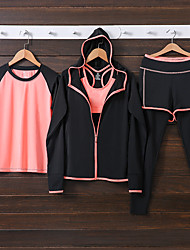 cheap -Women's Tracksuit Sports Clothing Suit Yoga Breathable Quick Dry Classic Black Pink+Red Dark Gray