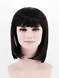 cheap -New fashion natural color black short paragraph Qi Liu straight hair high temperature wire wig