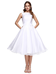cheap -Back To School A-Line Fit & Flare Elegant Homecoming Prom Formal Evening Dress Bateau Neck Sleeveless Tea Length Taffeta with Sash / Ribbon Pleats Beading 2020 Hoco Dress