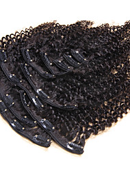 cheap -Clip In Human Hair Extensions Kinky Curly Human Hair Human Hair Extensions Brazilian Hair Women's Black#1B