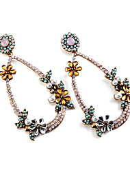 cheap -Women's Vintage Fashion Euramerican Gemstone Earrings Jewelry Black / Fuchsia For Wedding Party Special Occasion Gift