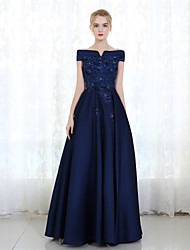 cheap -Sheath / Column Formal Evening Dress Off Shoulder Sleeveless Floor Length Mikado with Lace Beading 2020