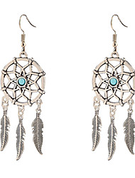 cheap -Women's Pendant Dangle Earrings Single Strand Feather Unique Design Dangling Tassel Vintage European Fashion Earrings Jewelry Silvery For Daily Casual