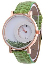 Недорогие -Жен. Модные часы Кварцевый Кожа Группа Повседневная Зеленый Фиолетовый Роуз