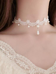 cheap -Women's Choker Necklace Pendant Y Necklace Flower Tattoo Style Dangling Imitation Pearl Lace White Necklace Jewelry For Wedding Party Special Occasion Birthday Party / Evening Engagement / Daily