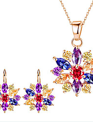 cheap -Women's Bridal Jewelry Sets Flower Flower Ladies Earrings Jewelry Gold / White / Rainbow For Party Daily Casual