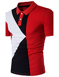 cheap -Men's Daily Going out Weekend Active Cotton Slim Polo - Color Block Patchwork Shirt Collar Black / Short Sleeve / Summer