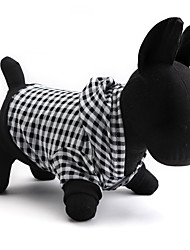cheap -Cat Dog Hoodie Dog Clothes Breathable Black Costume Cotton Plaid / Check XS S M L