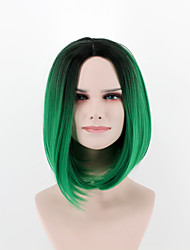 cheap -europe and the united states new fashion wig short hair breathable wig black green omber synthetic fiber wig